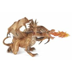 Figurine Dragon aux 2 têtes or