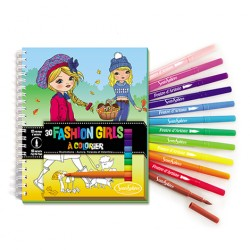 Carnet de coloriage fashion girls + feutres