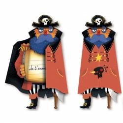 8 Cartes d'invitation Pirate Party