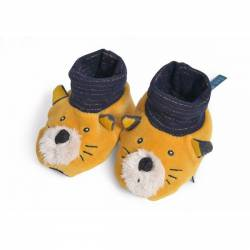 Chaussons chat moutarde lulu les moustaches Moulin Roty