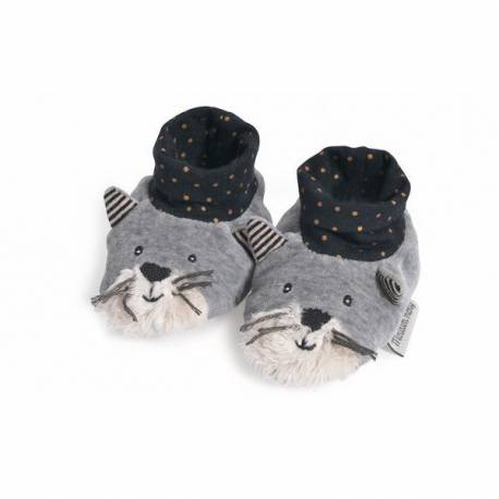 Chaussons chat gris fernand les moustaches Moulin Roty